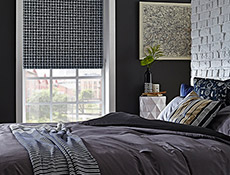 Cubix Denim Roller Bedroom Blinds