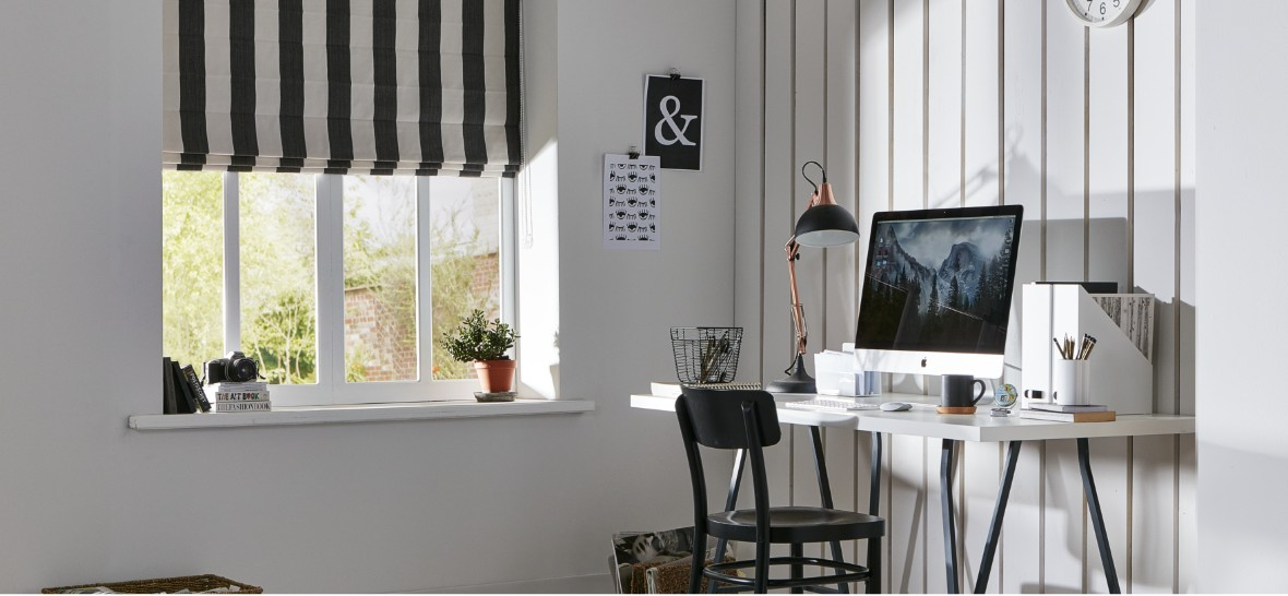 Black & White striped Roman Blind