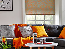 Squiggle Orange Roller Living Room Blinds