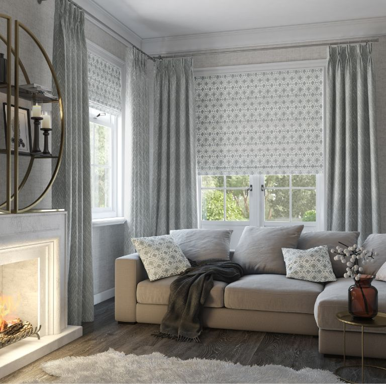 Silver pattern blinds & curtains