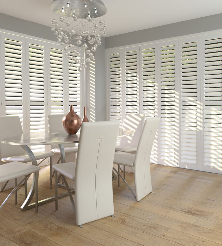 Conservatory white shutters