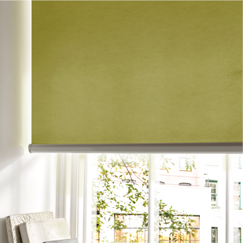 Lime green roller blind