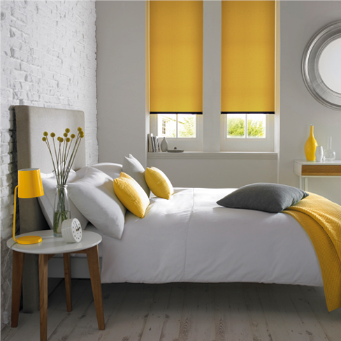 Yellow pleated blind
