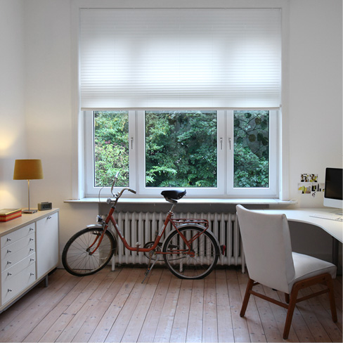 White pleated blind